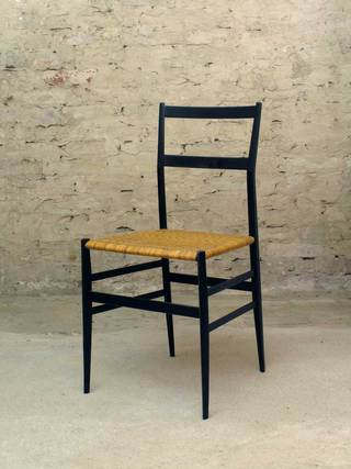699 Superleggera Chair, used</br> Gio Ponti for Cassina</br> Black lacquered Ashwood, Cane</br> Sold Out